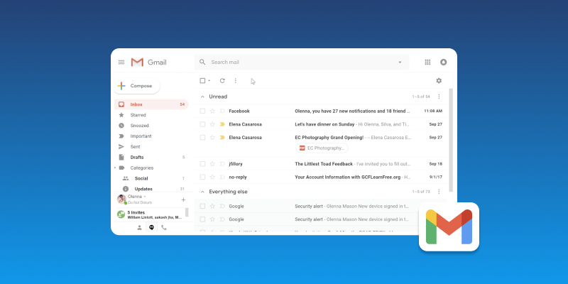 Screenshot of Gmail Email Provider