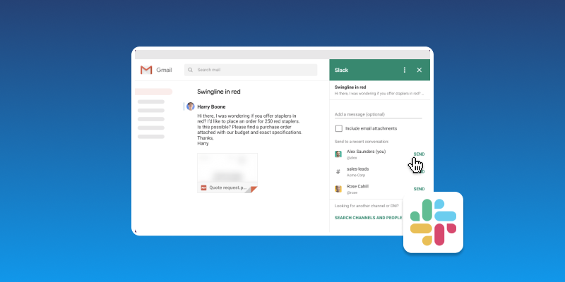 Screenshot of Slack Email Communication and Chat