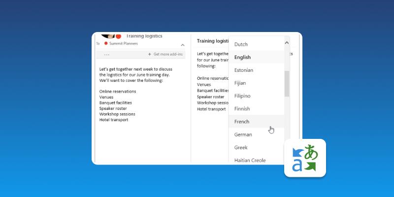 Screenshot of Translator for Outlook
