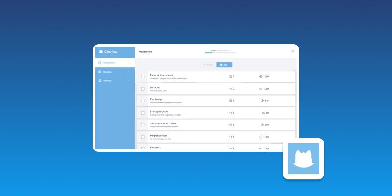 Screenshot of CleanFox Email List Management