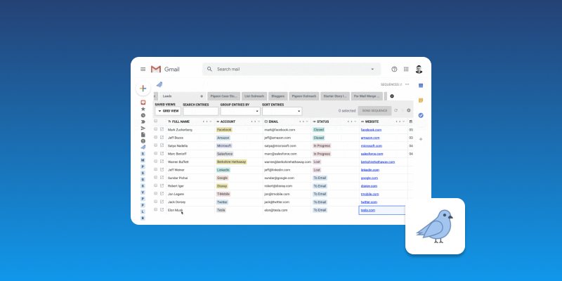 Screenshot of Pigeon Email CRM
