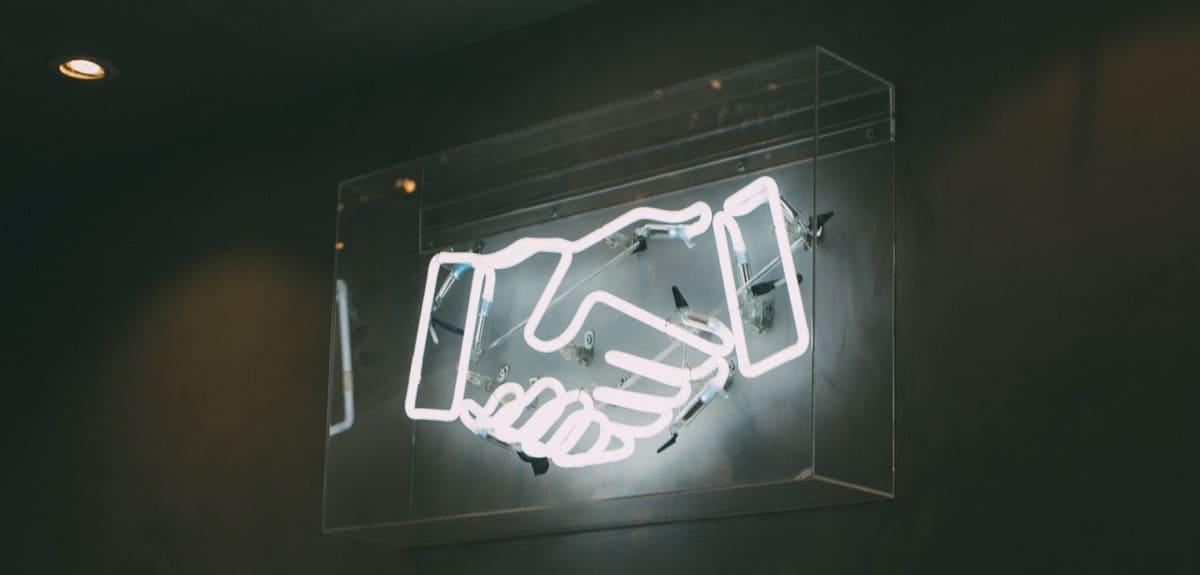 SMarketing marknad och sälj jobba ihop neon skylt