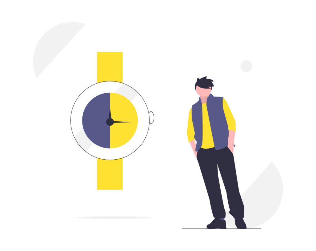 Kille bredvid en klocka som ska symbolisera hur marketing automation kan spara tid