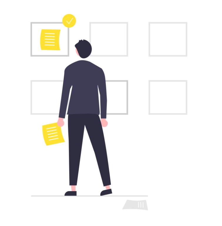 En person som sorterar sina dokument