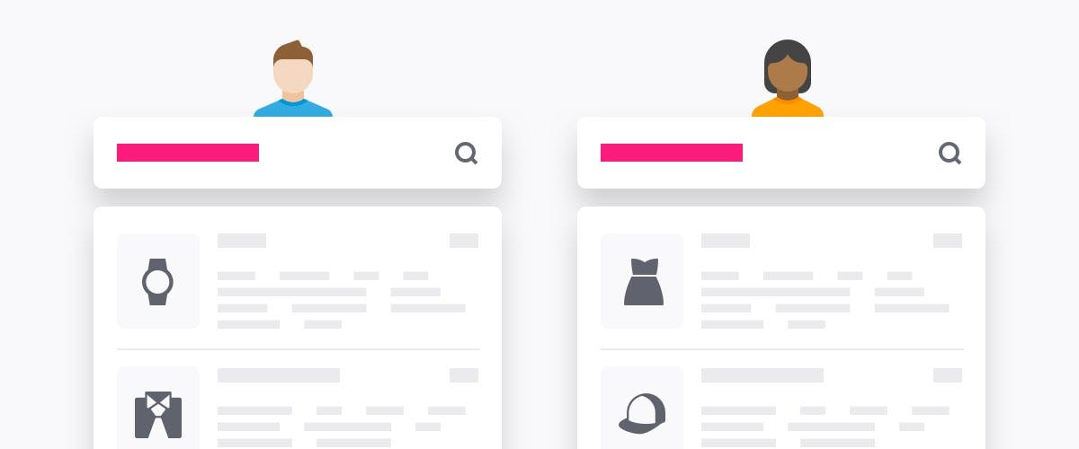 Illustration of personalized search experiences