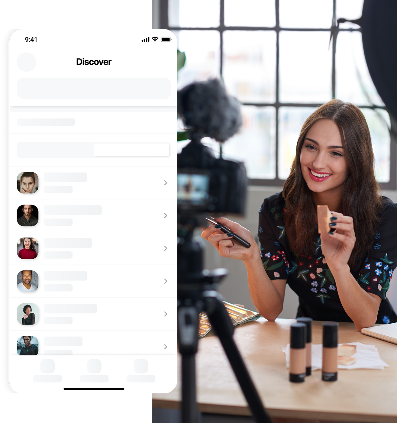 Headshots of two models paired with a mockup of the app.
