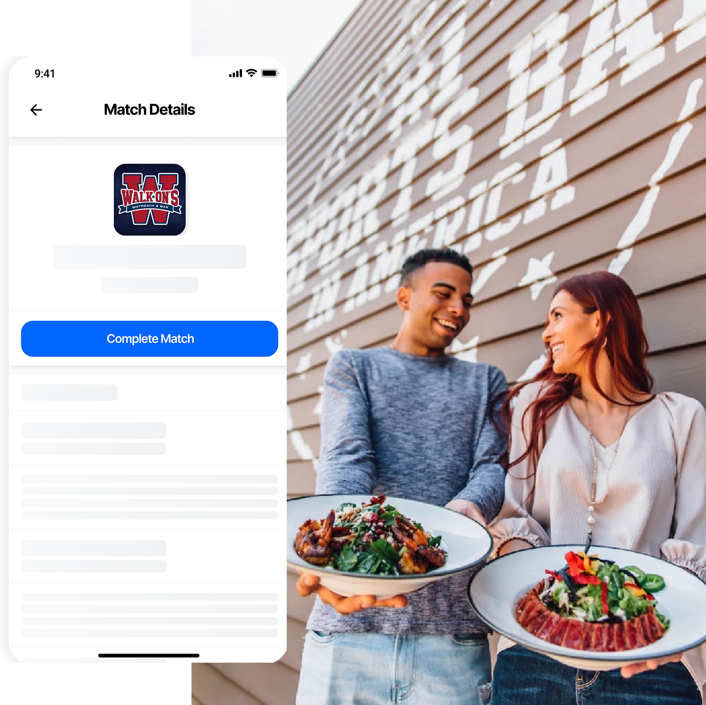 Image of a burger paired with a mockup of the app.