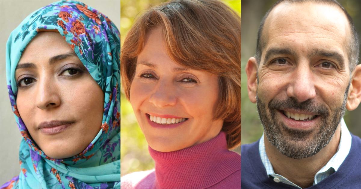 Headshots of Tawakkol Karman, Lynne Twist, and Dan Cardinali