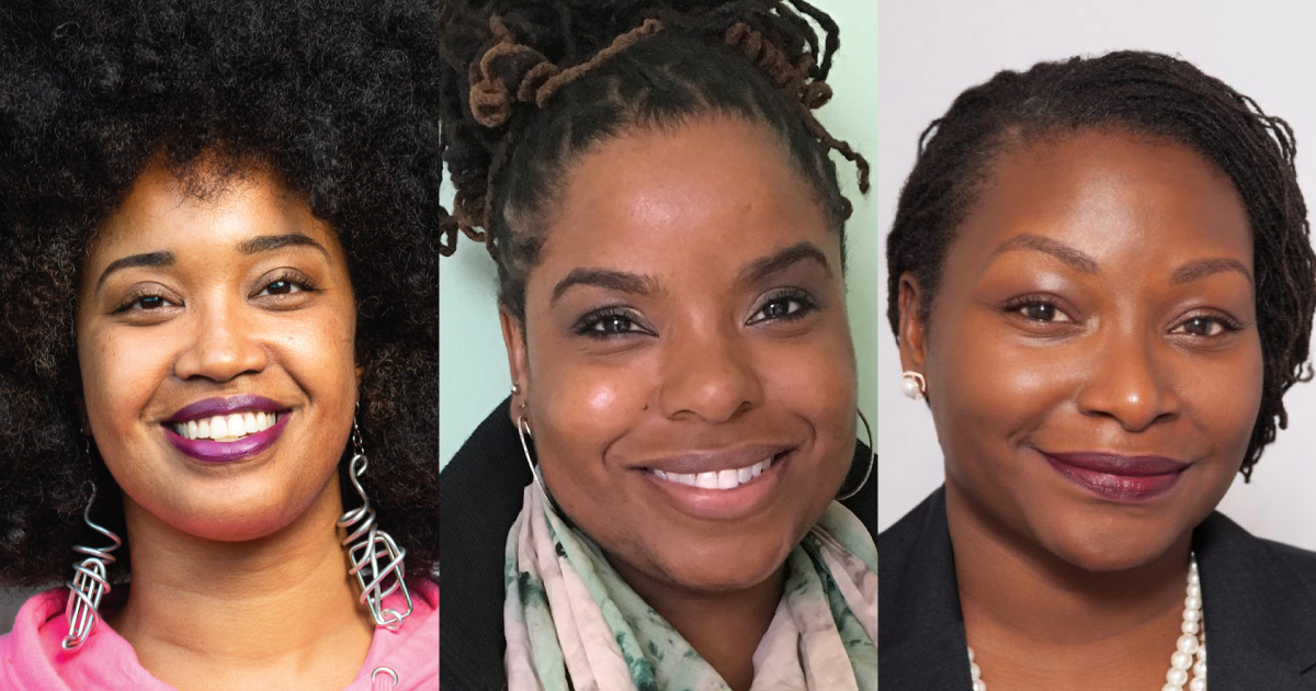 Headshots of Tonika Lewis Johnson, Lolly Bowean, and Dr. Maya Green