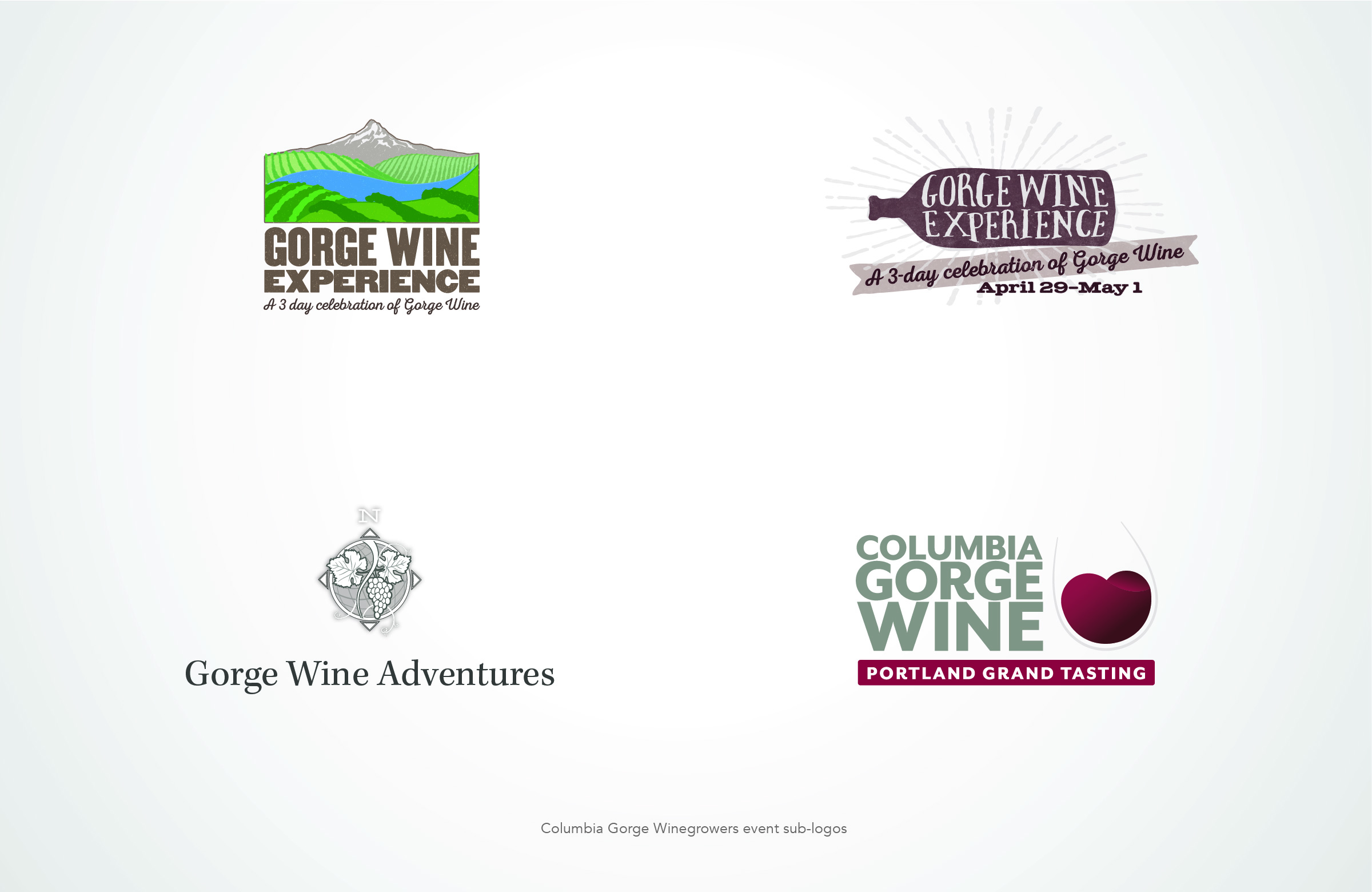 One of the worlds most unique wine growing regions, with the ability to grow almost any grape, I worked with this organization over 8 years to define its market in the US and the world for it's members. Working with a winery and growers association to develop a brand and reach out to their target markets promoting the Columbia Gorge wine region. Starting with research and rebranding, then extending that new branding out to print advertising, billboards, wine show booth signage and collateral, Web design and development, AVA wide winery event promotion and print collateral, yearly AVA Maps, media kits, and more.