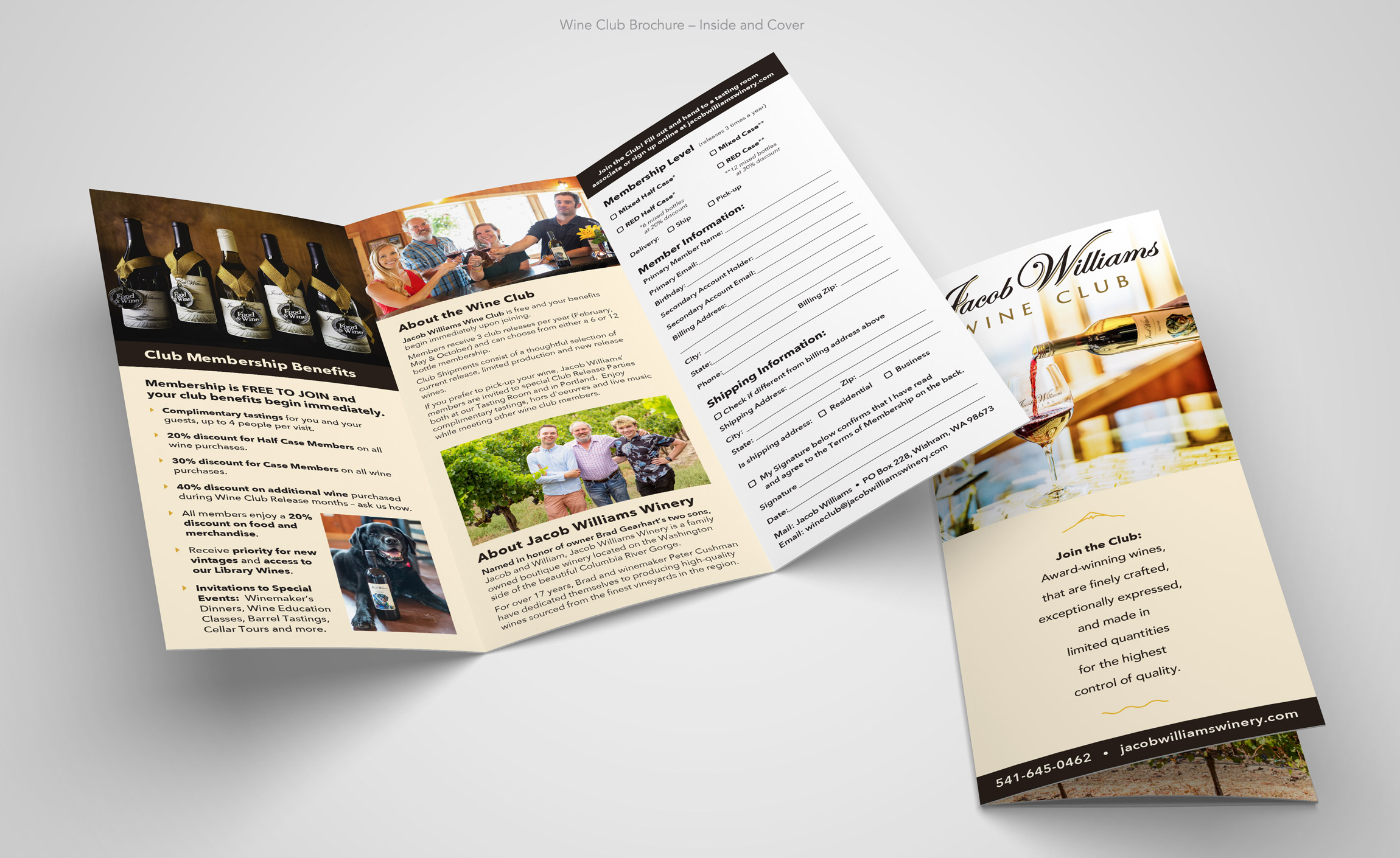 Already an established, well regarded winery, Jacob Williams came to me with a desire to upgrade their image for a more sophisticated clientele, without loosing the base that they had worked to create. It was agreed that we start with the logo Wordmark. Created early on, it had some serious problems as an identity. The logo Wordmark had been originally typeset as a script font that was not designed for the multiple sizes and purposes that this client required. Additionally, the original mark had some serious balance and spacing issues as well as poorly connecting letterforms that showed its flaws at a relatively small enlargement. The intent of sophistication had been lost in the original execution. Communication with the client made it clear that they had a very strong attachment to the overall intent of the original. After a good deal of research into the market and Jacob Williams competitors, including shelf appeal studies, I started sketching out directions for the word mark refresh that would provide balance, weight at all sizes without being heavy-handed, and the addition of some gold flourishes. Once a direction was agreed upon, I took on the work of redrawing the type from scratch to address the flaws in the poorly constructed original typeface.