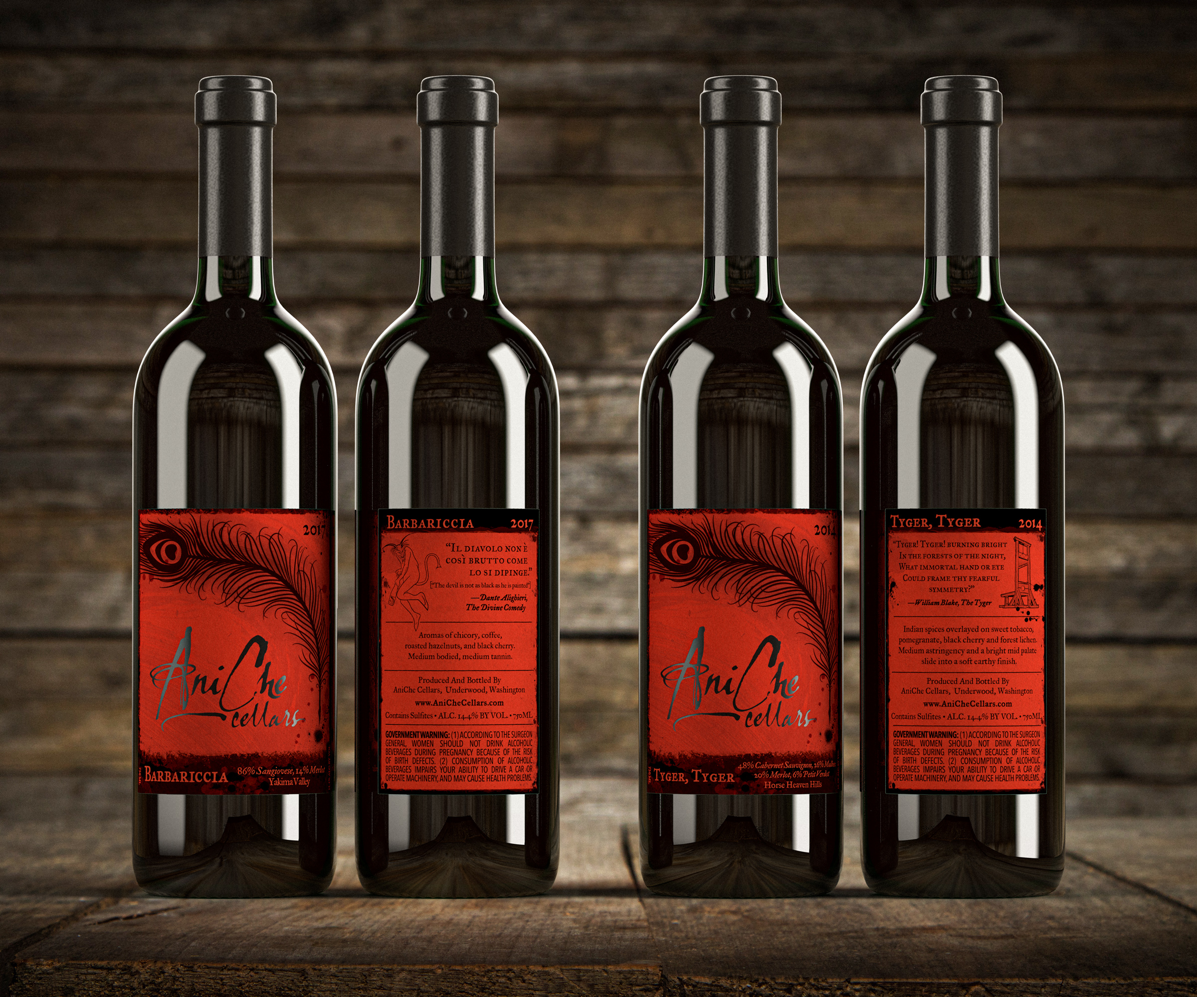 I was approached by AniChe Cellars to to take their infant label to the next level. AniChe (named after the winemakers two children) wanted to retain certain aspects of its fledgling label: ink splotched & smeared, old literary feel of peacock quill pens, the rich red they had been using liberally and old letterpress type setting. I focused on striking shelf appeal, readability and giving the brand and label the kind of character that the defined the author/winemaker.