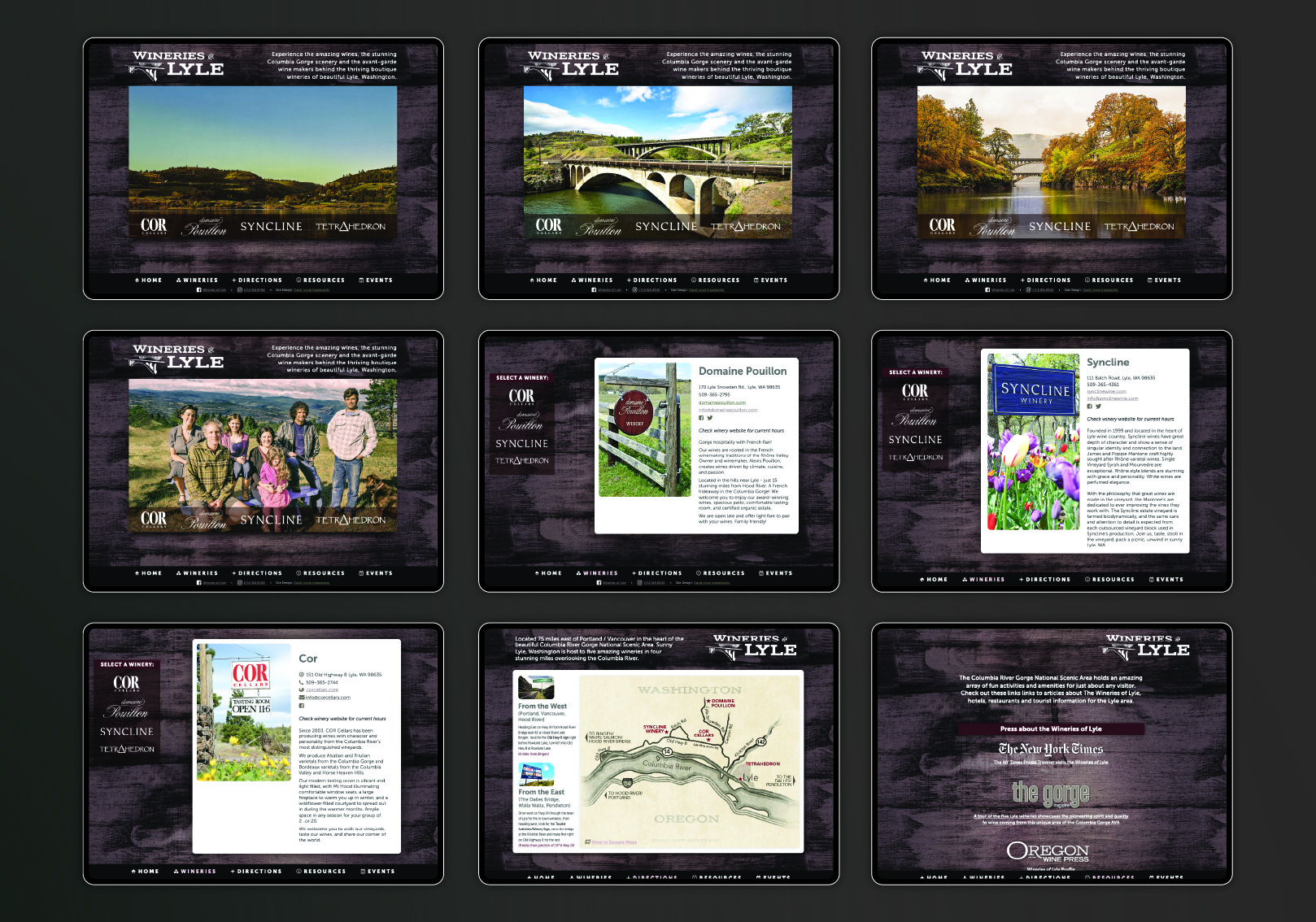 Print and web work supporting 5 amazing wineries in the burgeoning Lyle Washington area of the Columbia Gorge wine AVA.