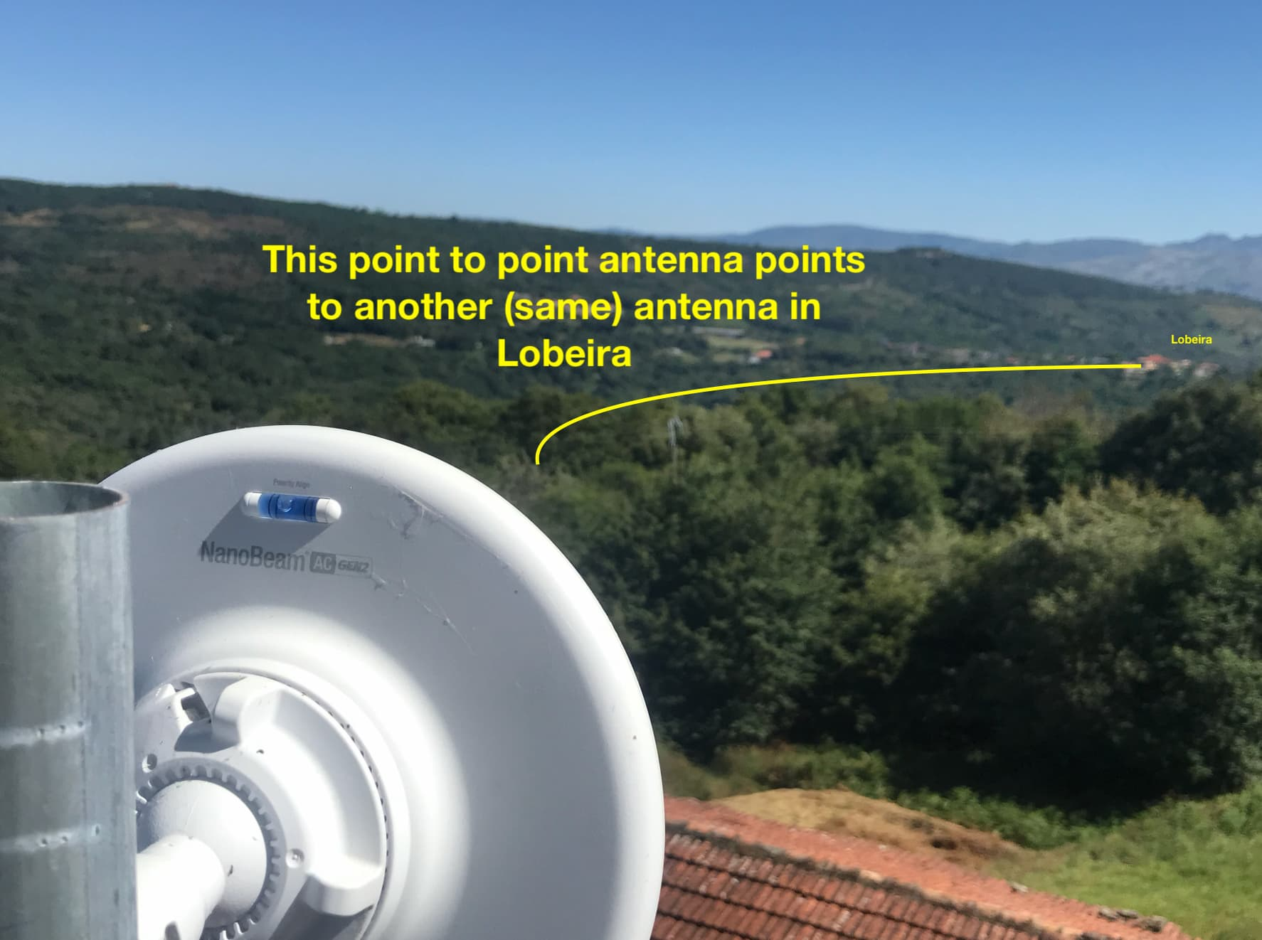Photo of our point to point antenna which points to anoher antenna in Lobeira