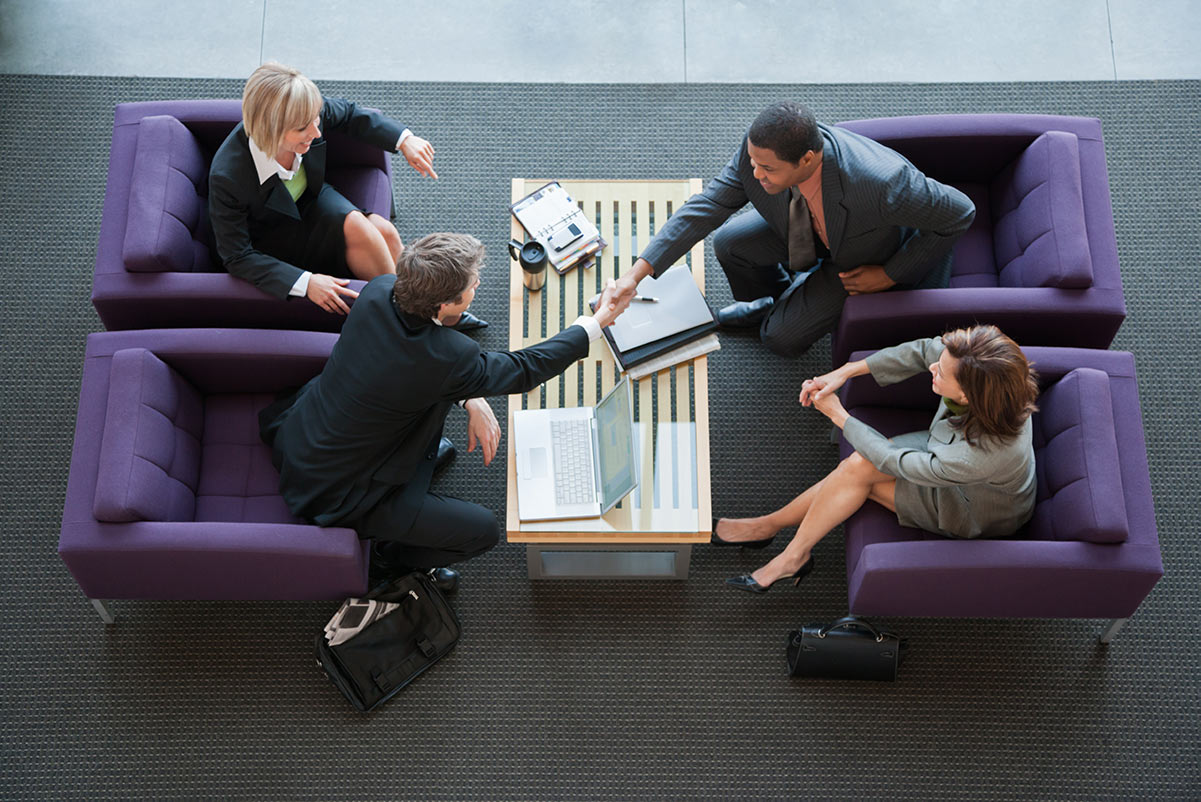 A meeting at a lobby