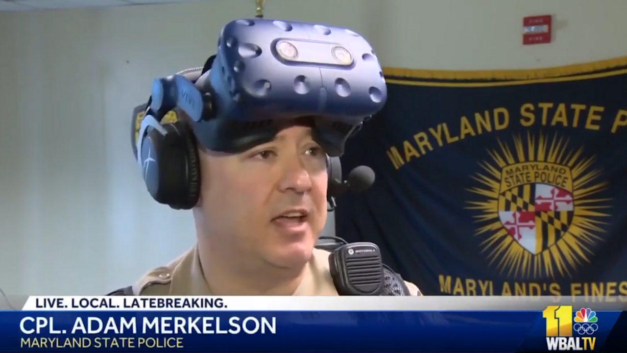 Maryland State Police Cpl. Adam Merkelson Demonstrating Their New VRTraining Tool