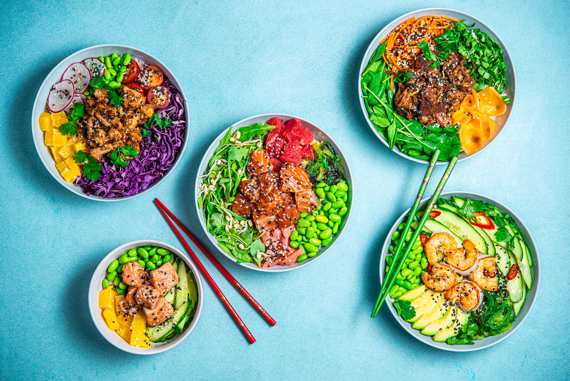 Healthy and delicious looking poke bowl presentation with chopsticks