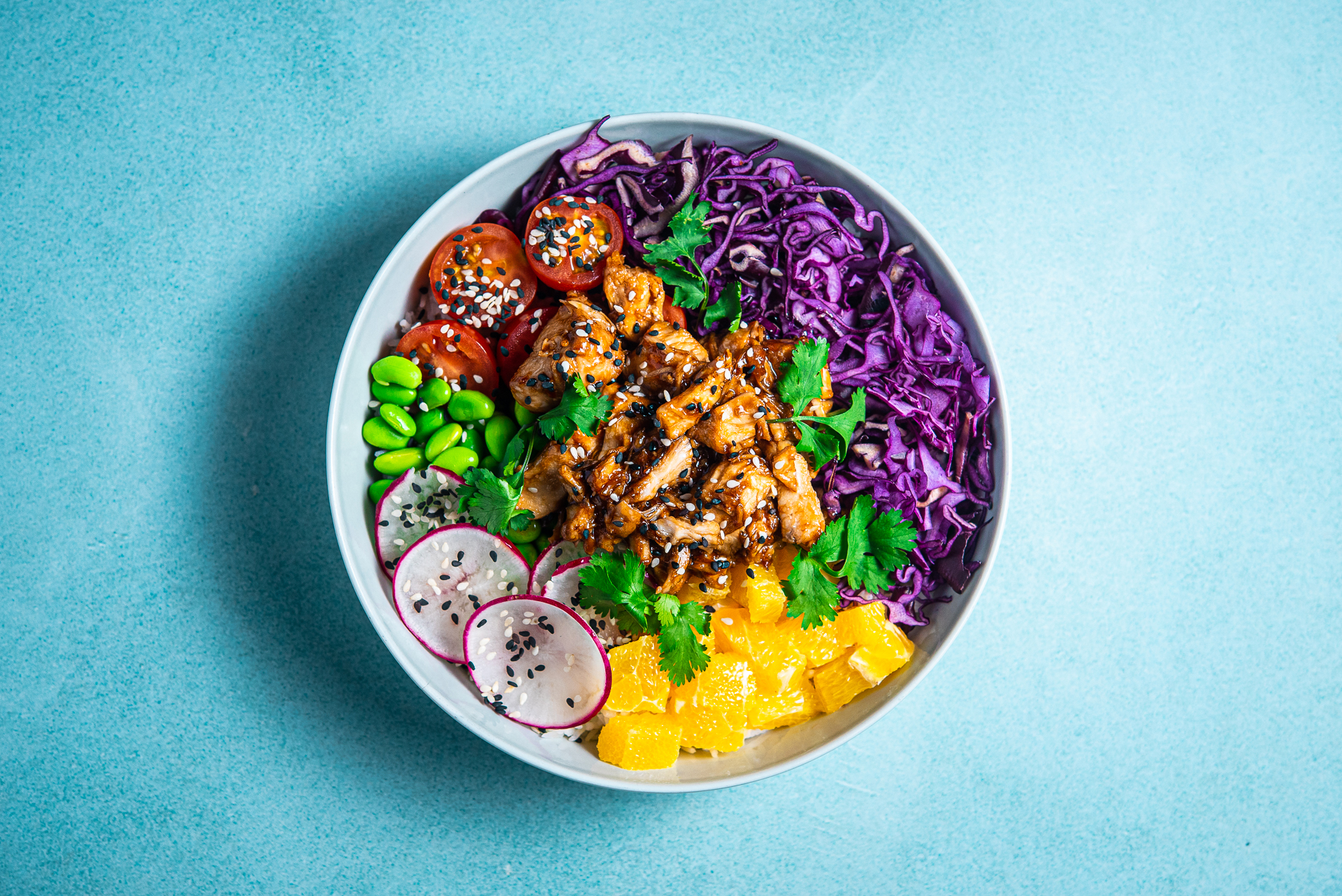 Kauss poke bowl product chicken kana