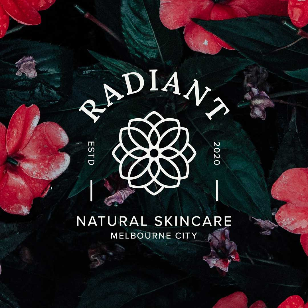 Radiant Skincare Logo on a photo of flowers & leaves