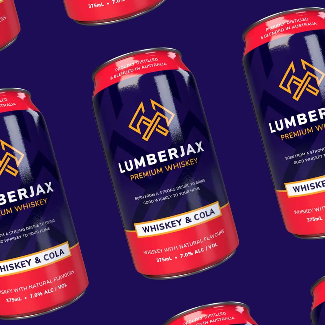 Lumberjax Whiskey Logo on cans