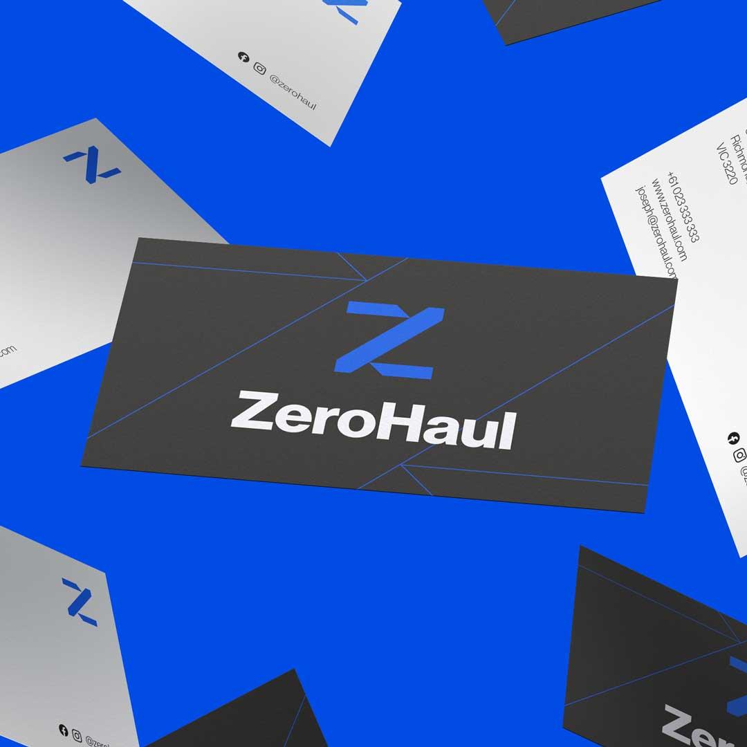 Zerohaul Logistics Logo on Business Cards Floating