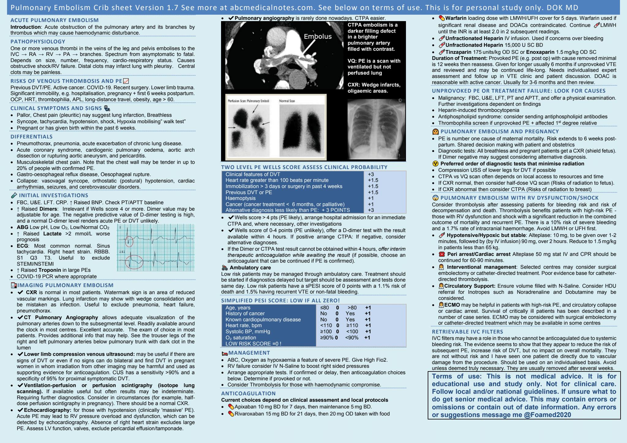 Pulmonary embolism crib sheet