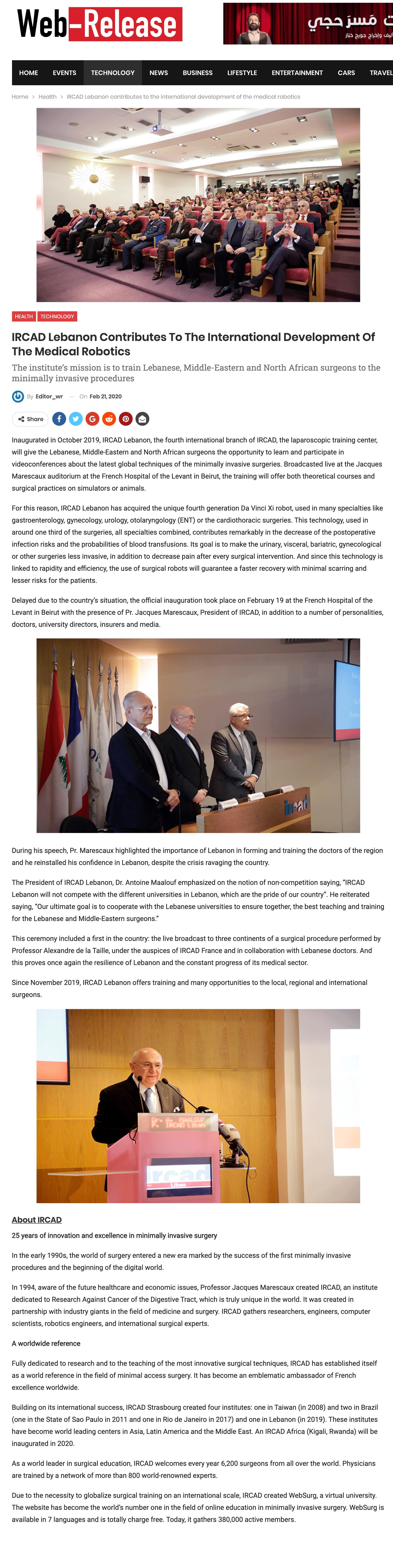 IRCAD Lebanon Contributes To The International Development Of The Medical Robotics