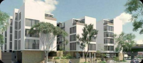 Foto de un conjunto de 3 edificios modernos de 5 pisos, con amplios balcones y areas verdes. Ubicado en Santa María la Ribera.