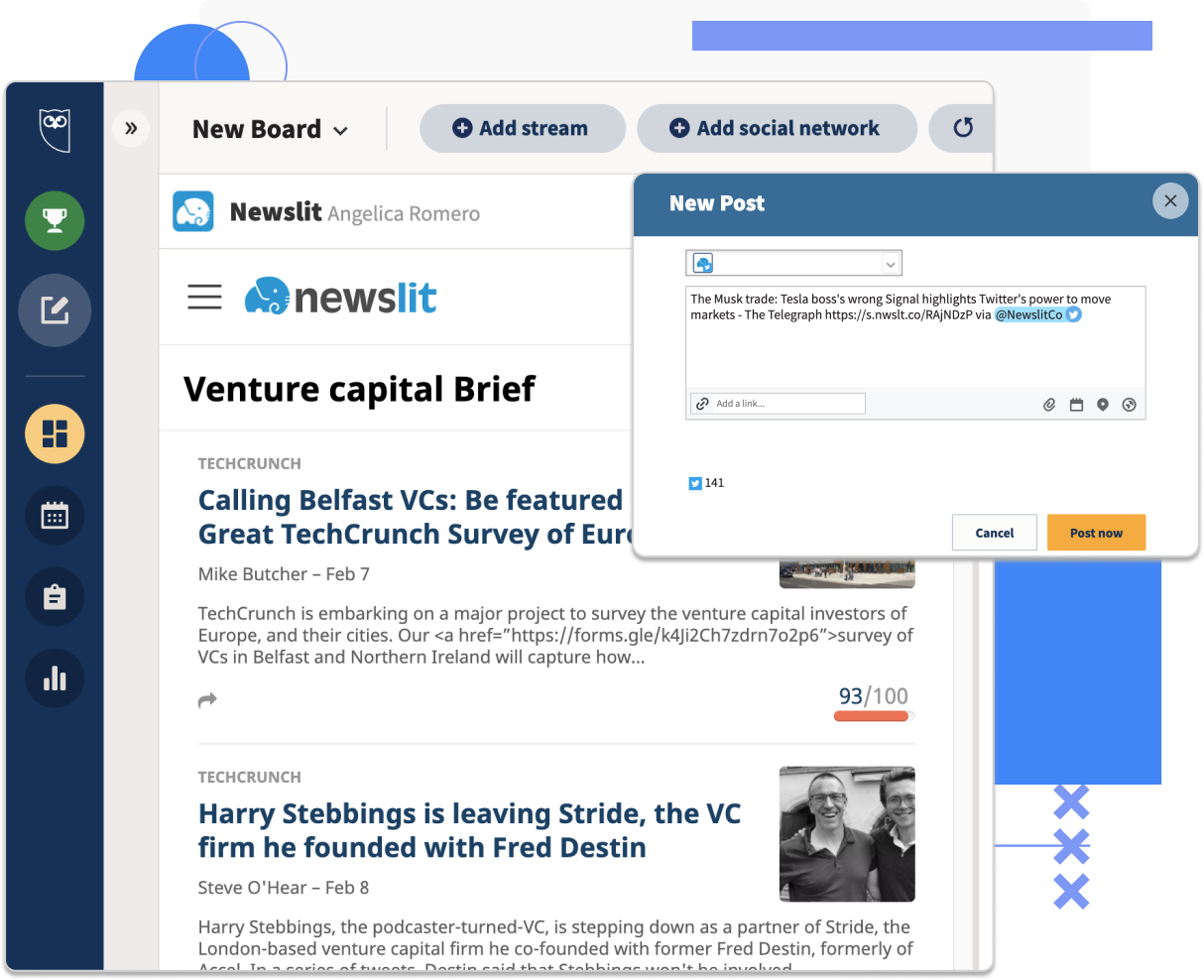 Share your news-brief within your social media accounts and power your content curation strategy using Hootsuite - image