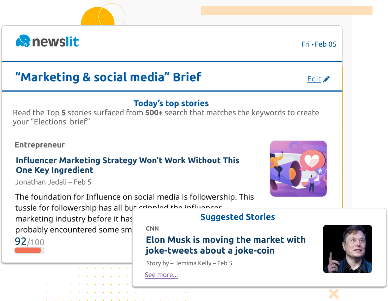 Get daily personalized news-briefings via email with the latest news about your targeted topic - image