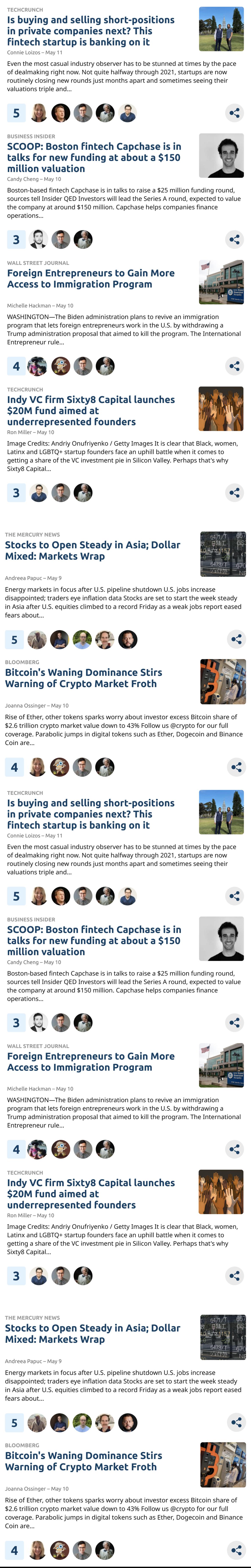 social news feed