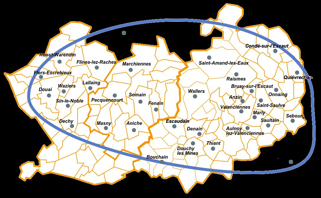 Zone d'intervention de Labelvie Service autour de Valenciennes