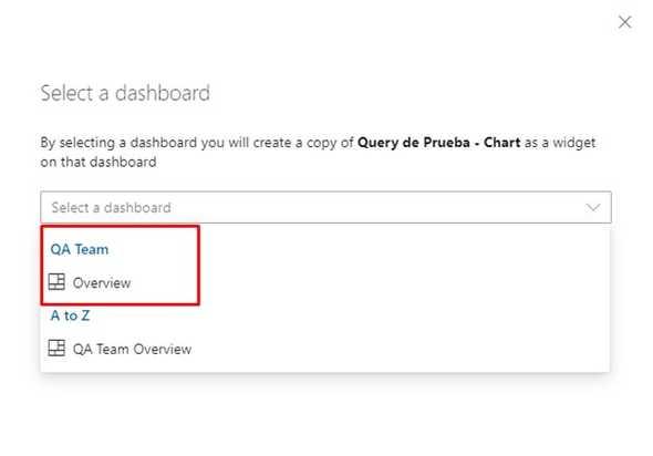 select dashboard