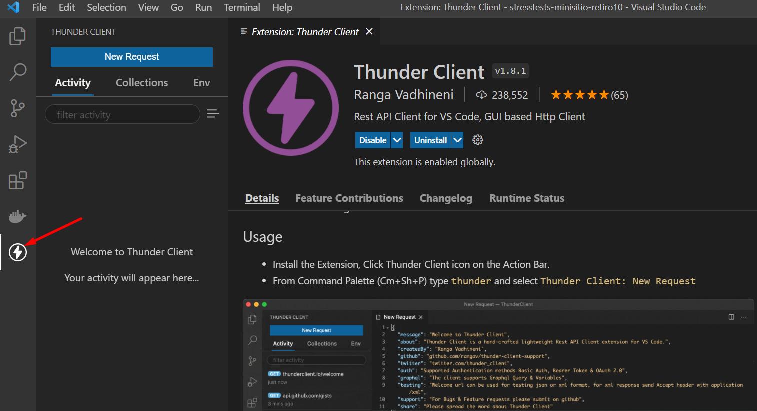 """Seleccionar el logo de """"Thunder Client"""""""