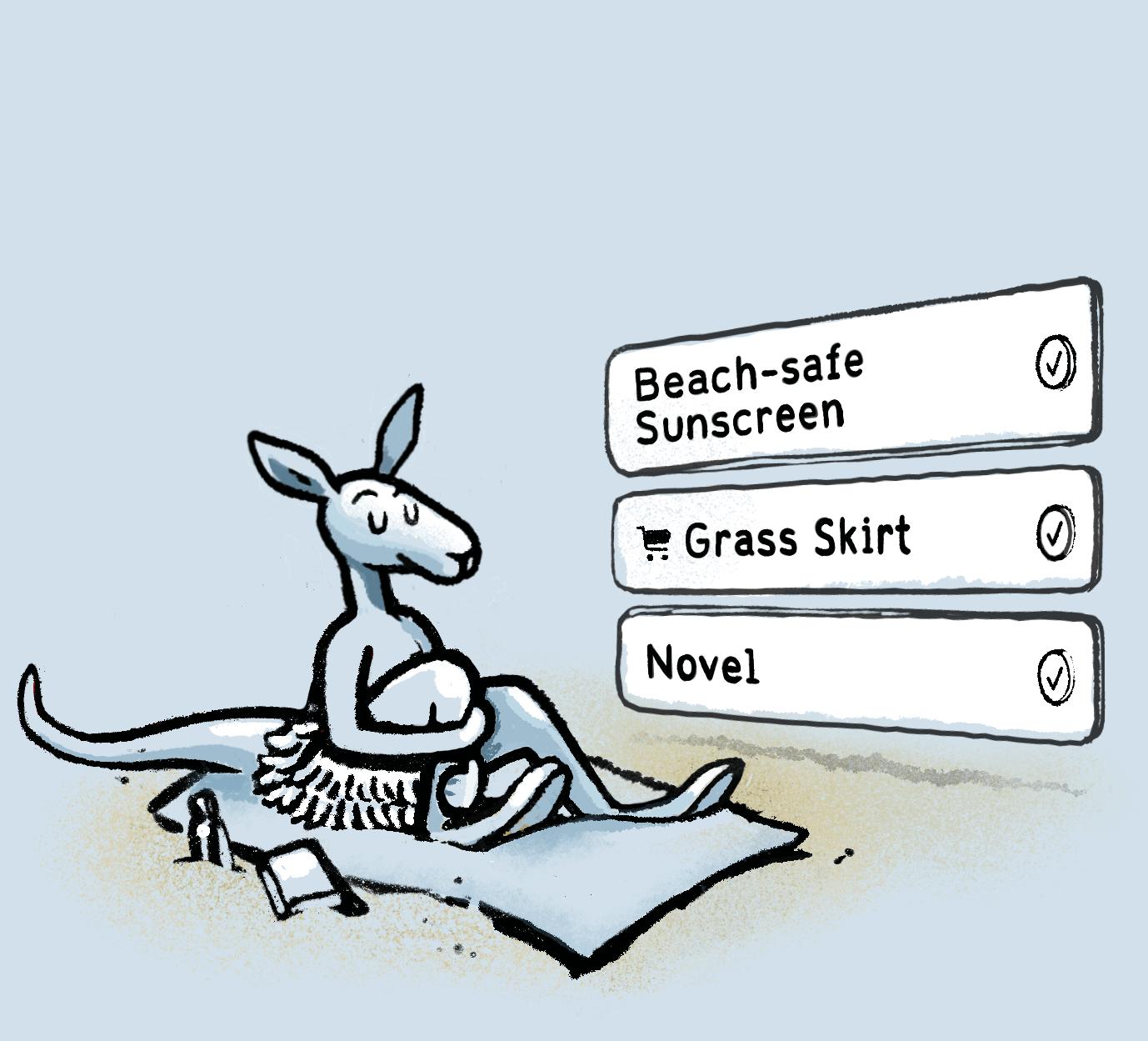 A Kangaroo on a beach blanket looking smug.