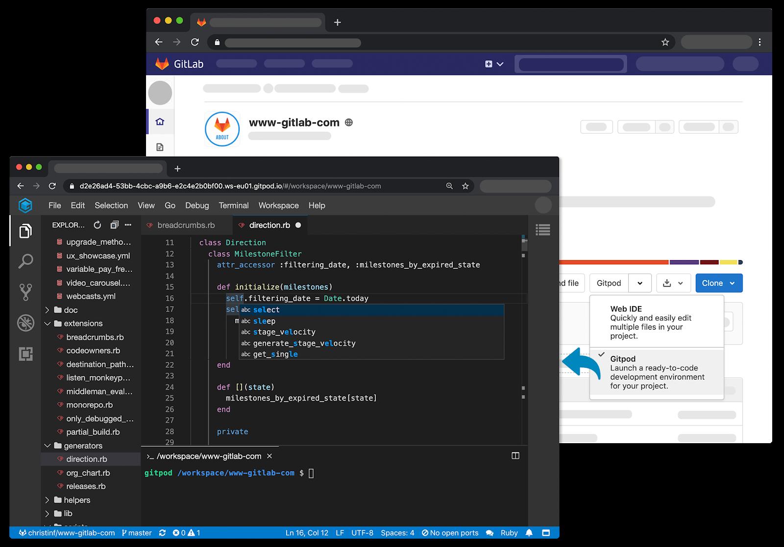 Native Gitpod integration in GitLab