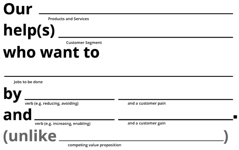 Helping users building their value proposition.