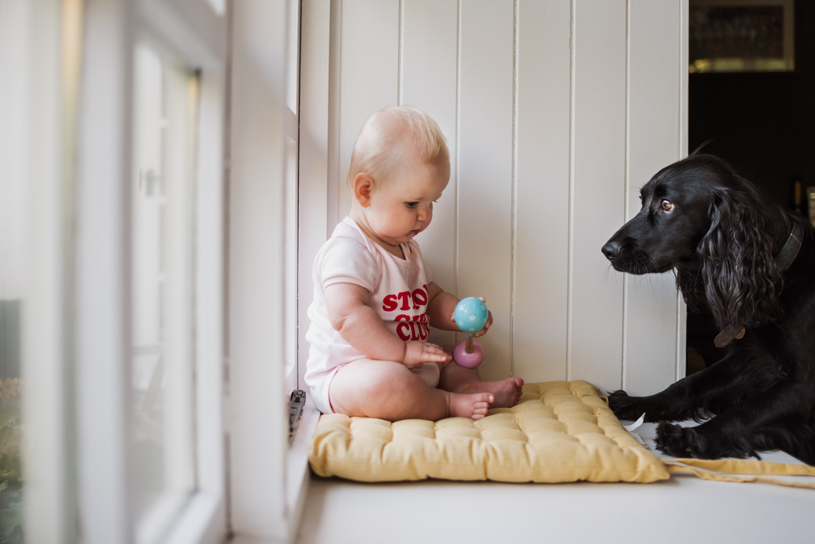 Natural newborn photography, baby sitting with her dog, The Ginger Collective Photography
