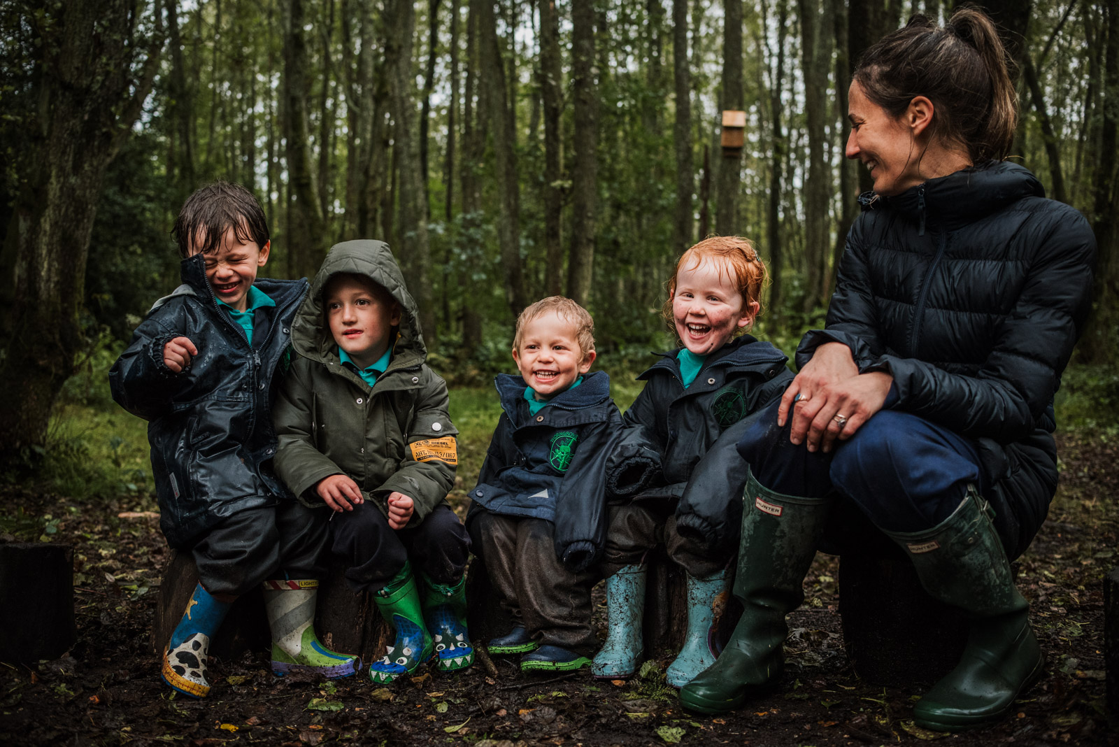 School photographer, brand photography by The Ginger Collective of forest school at Berkshire school Thorngrove