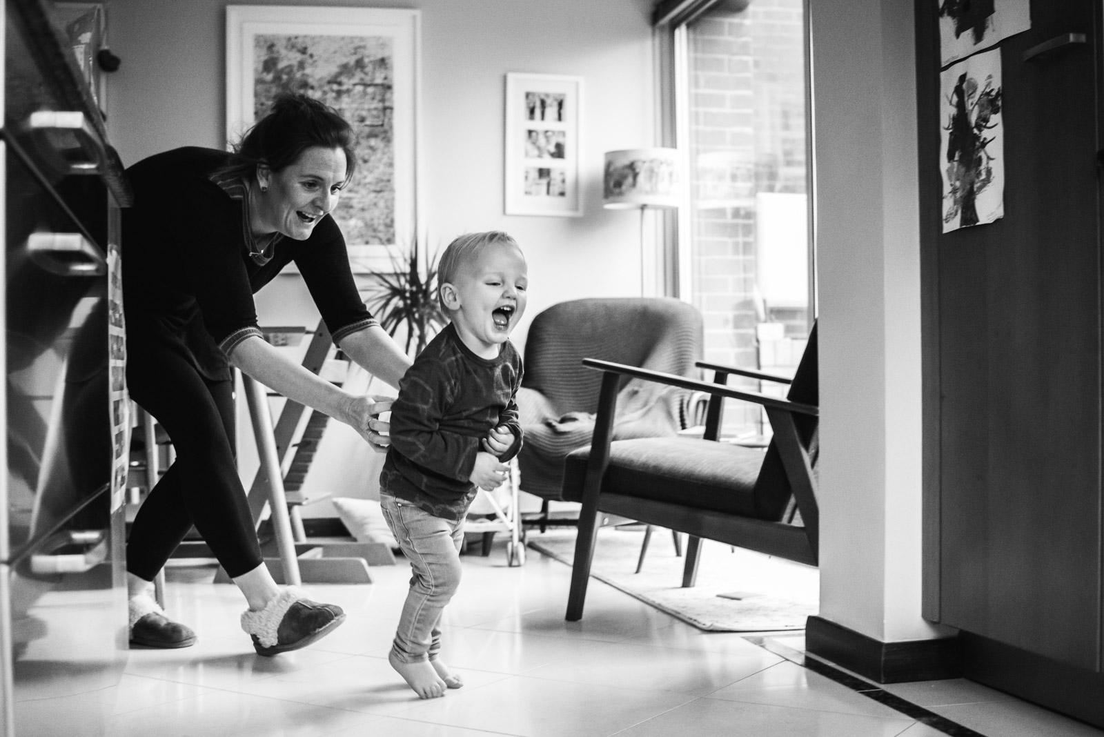 Emotive family photography, Mum chasing boy