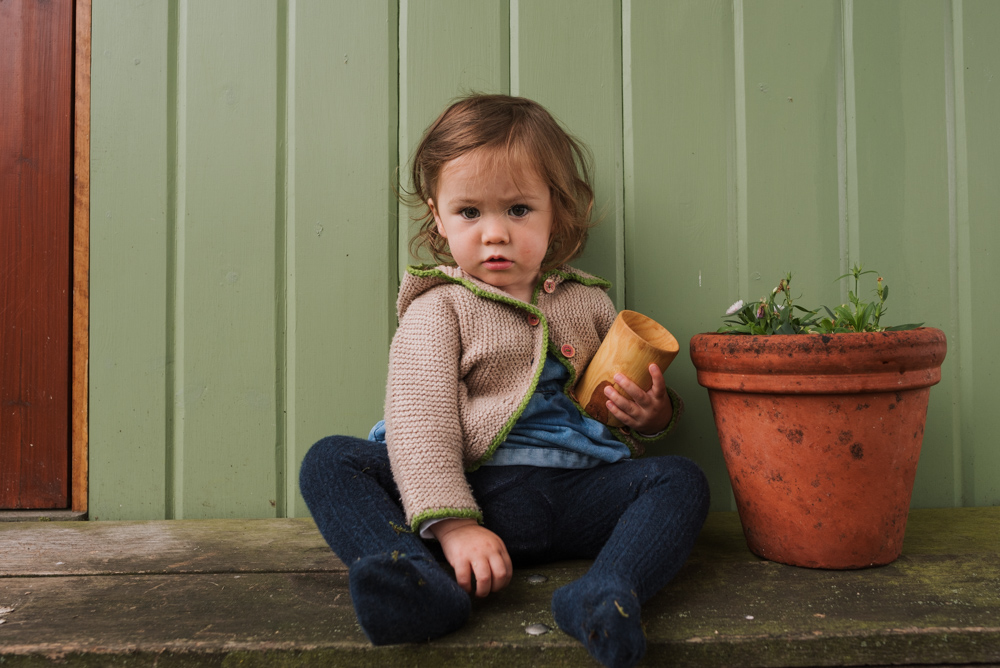 Girl with wooden cup on brand shoot with The Ginger Collective in Berkshire