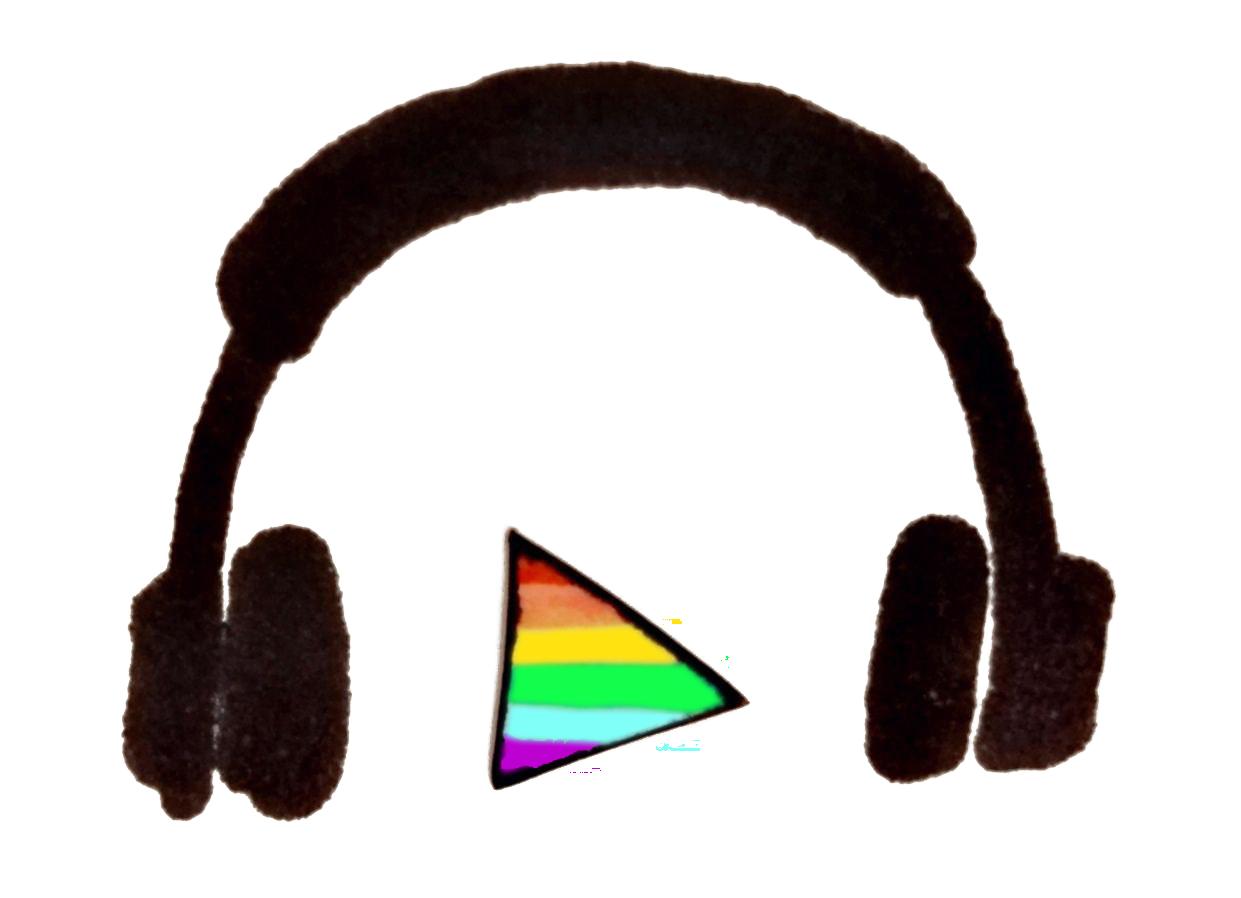 Podcast Logo mit Kopfhörer und Play-Zeichen