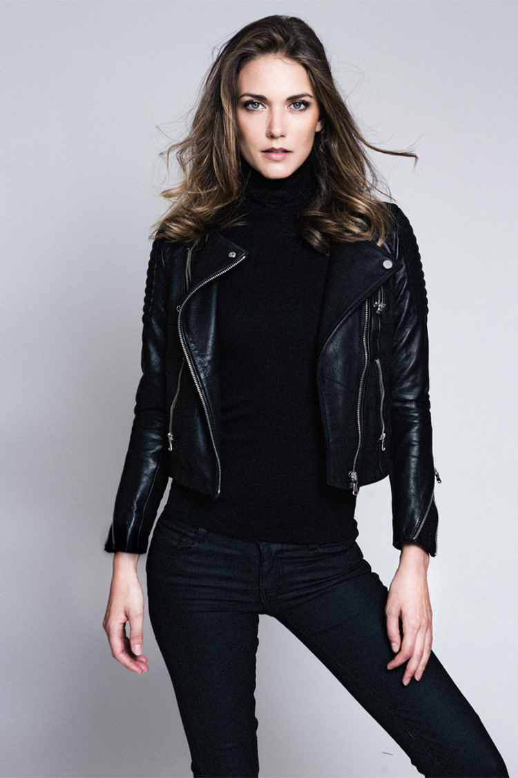 Jessamine in black leather jacket. Model pose