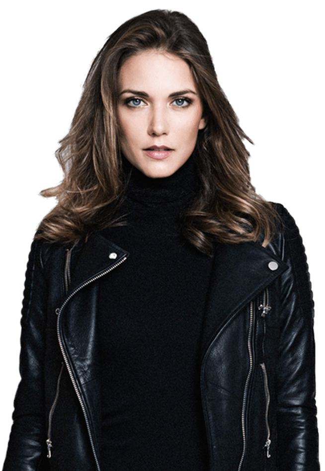 Hero Image Of Jessamine in leather jacket