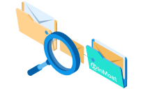 An InMoat magnifying glass scanning emails