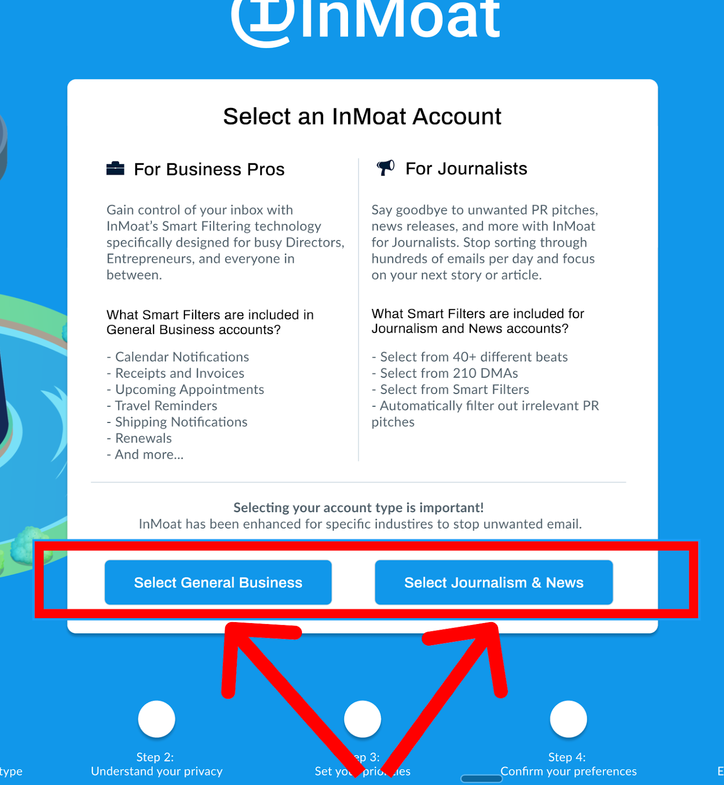 Select the Account Type most relevant to you