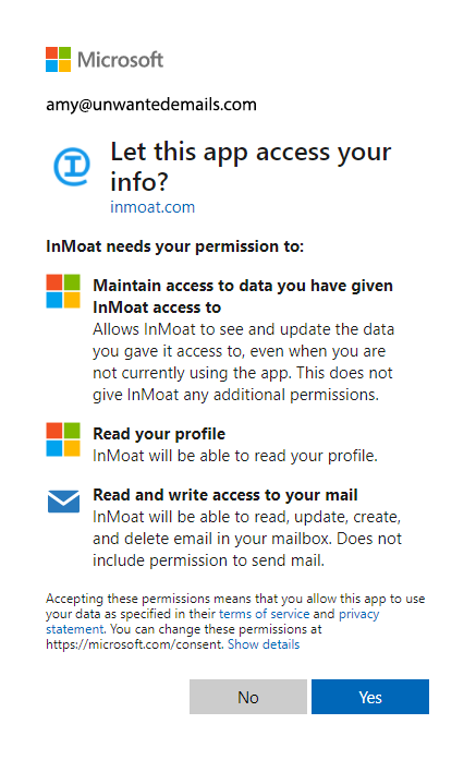 Outlook Microsoft Account Permissions