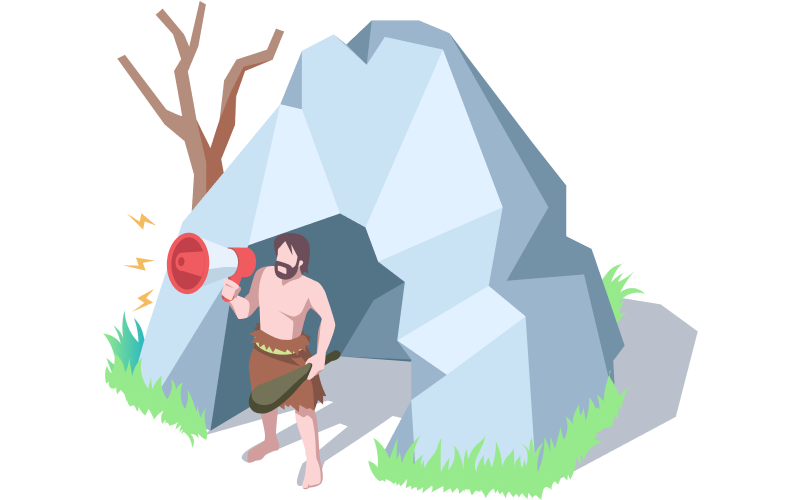 The World's First Journalist: A Caveman Shouting The Latest News From a Cave