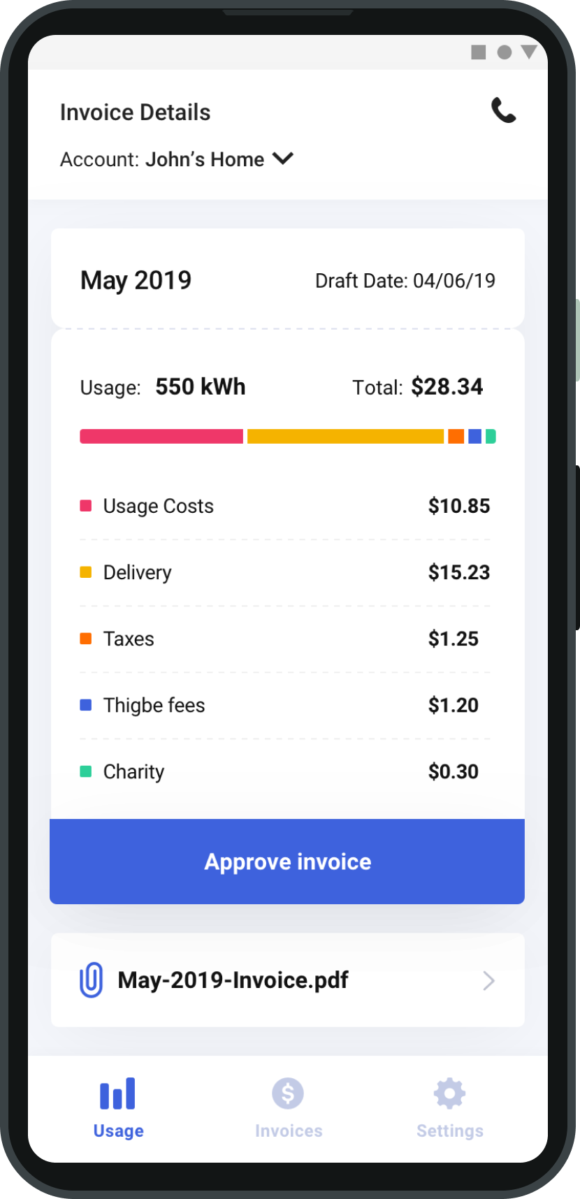 Thigbe mobile app pay invoices