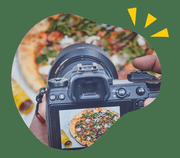 Shooting photo d'une pizza chez Talk.